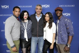 "PARK CITY, UT - JANUARY 23: (L-R) Actors Alano Miller, Jessica De Gouw, executive President and chief executive officer of Tribune Media Company Peter Liguori, Jurnee Smollett-Bell and Aldis Hodge attend the WGN America celebration of ""Underground"" with John Legend At The VIDA TEQUILA Lounge on January 23, 2016 in Park City, Utah. (Photo by Alison Buck/Getty Images for WGN America)"